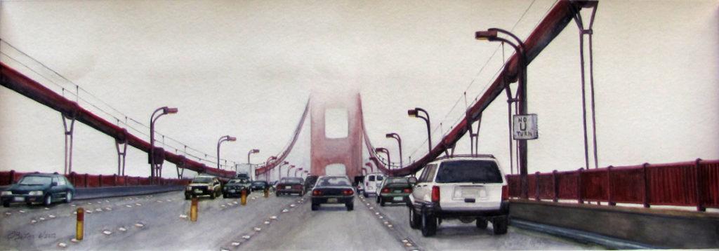 Realistic watercolor painting of Golden Gate Bridge in San Francisco