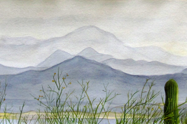 Tucson Mountains is a watercolor of mountains in Tucson, Arizona with some desert brush in the foreground by artist Esther BeLer Wodrich