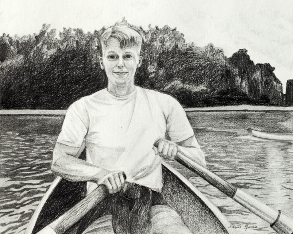 Graphite drawing of a young man rowing a boat in Versailles, France