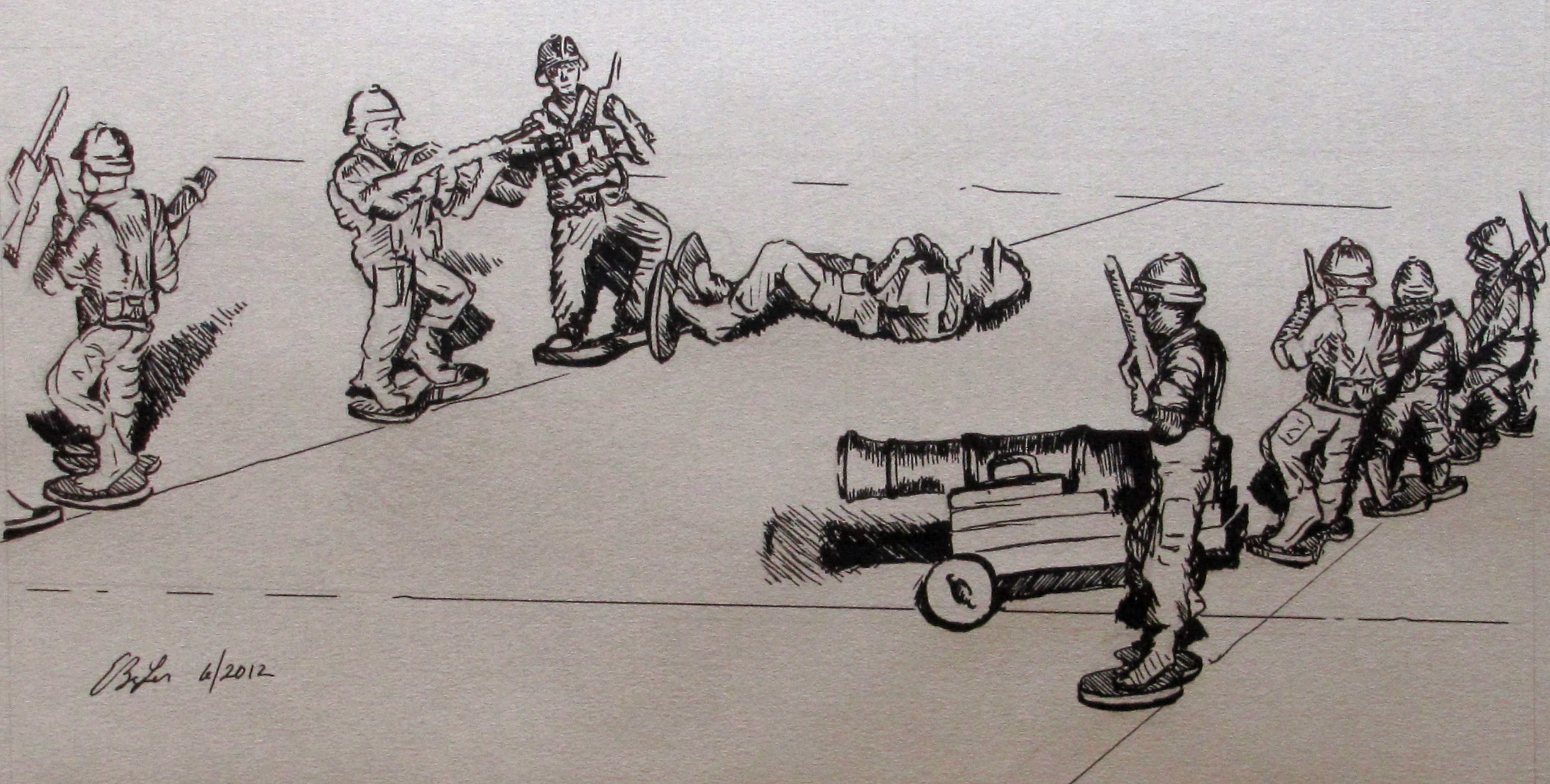 A pen and ink on grey artist paper drawing of toy army soldiers as a child had them displayed on tile.