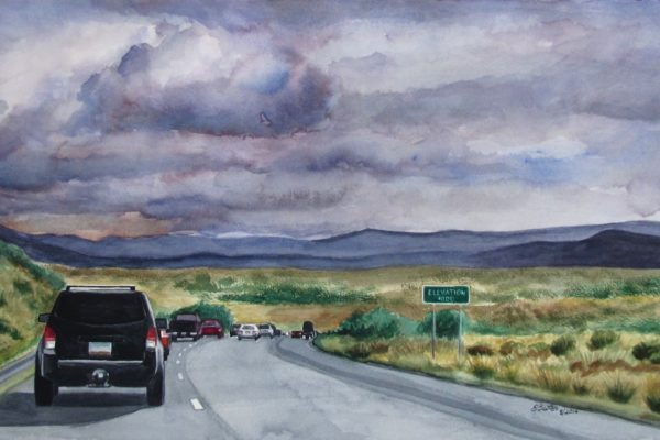 Heading down is a watercolor painting of road heading back to Phoenix from Flagstaff at 4000 feet by artist Esther BeLer Wodrich