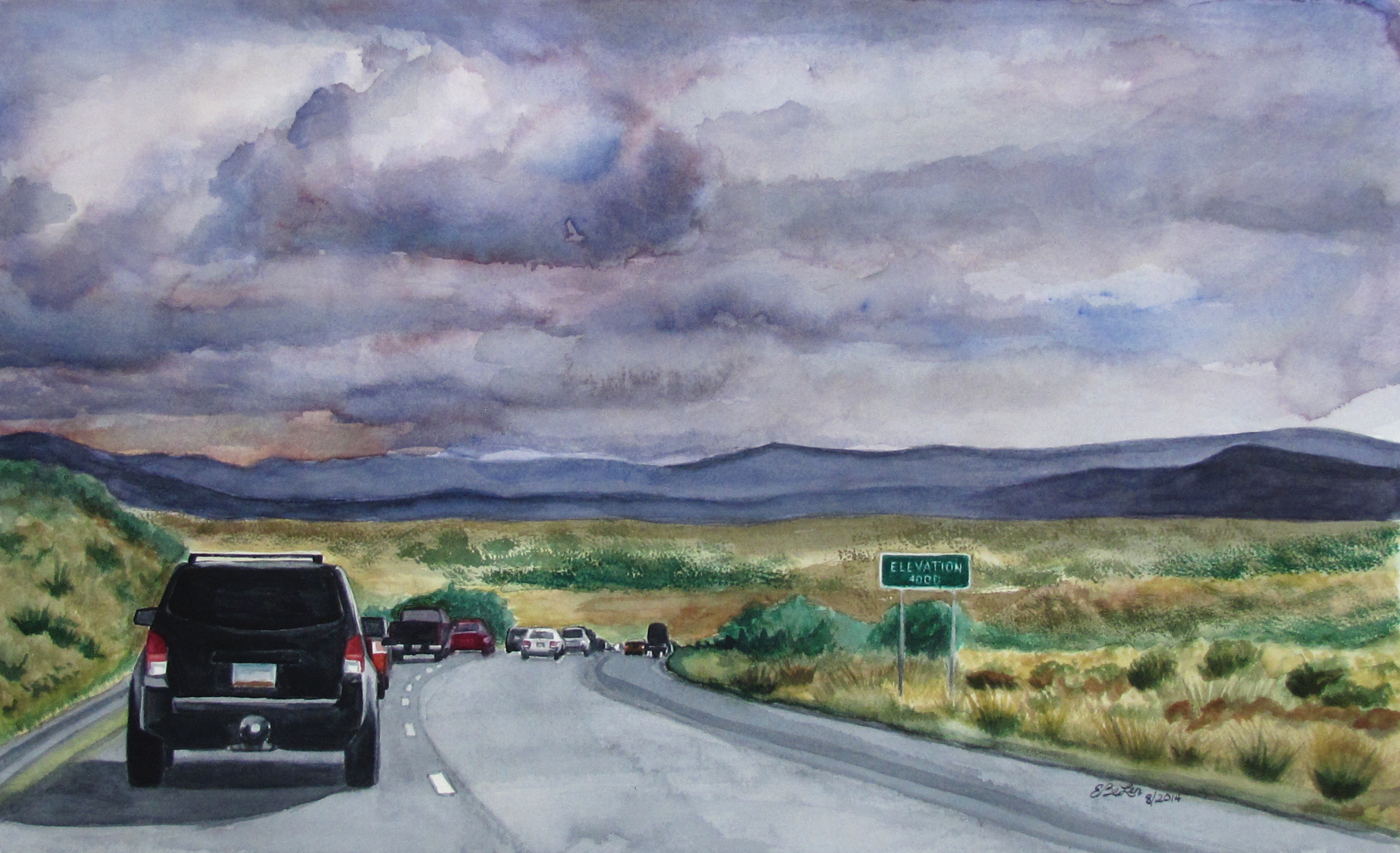 Watercolor painting of road heading back to Phoenix from Flagstaff at 4000 feet