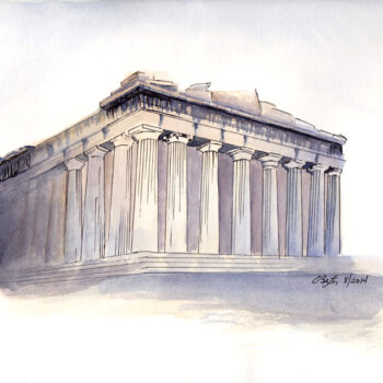 The Erechtheion is a pen, ink and watercolor artwork of the Erechtheum on the Acropolis in Athen's Greece by Artist Esther BeLer Wodrich