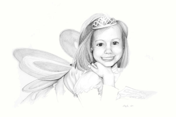 Clara, Age 4 is a graphite drawing of a young girl dressed up with fairy wings and coloring a coloring page by artist Esther BeLer Wodrich