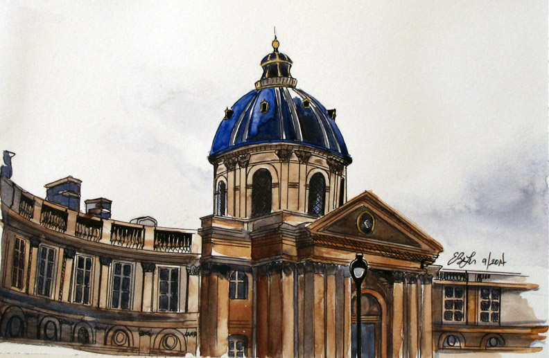 Watercolor, pen and ink architecture painting of Institut de Francais in Paris, France by Esther BeLer Wodrich
