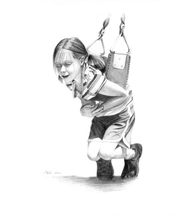 """Swinging"" is a graphite drawing of a young girl hanging on a swing by artist Esther BeLer Wodrich"