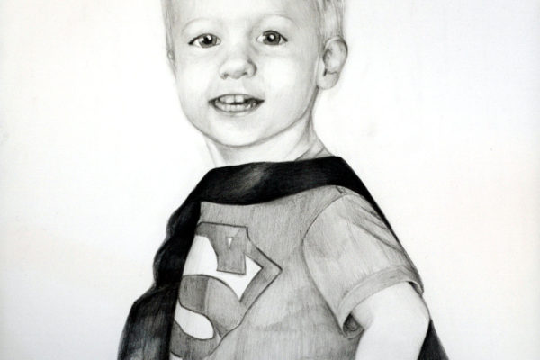 Thomas, Age 3 is a graphite drawing of a young boy wearing a superman cape and shirt by artist Esther BeLer Wodrich