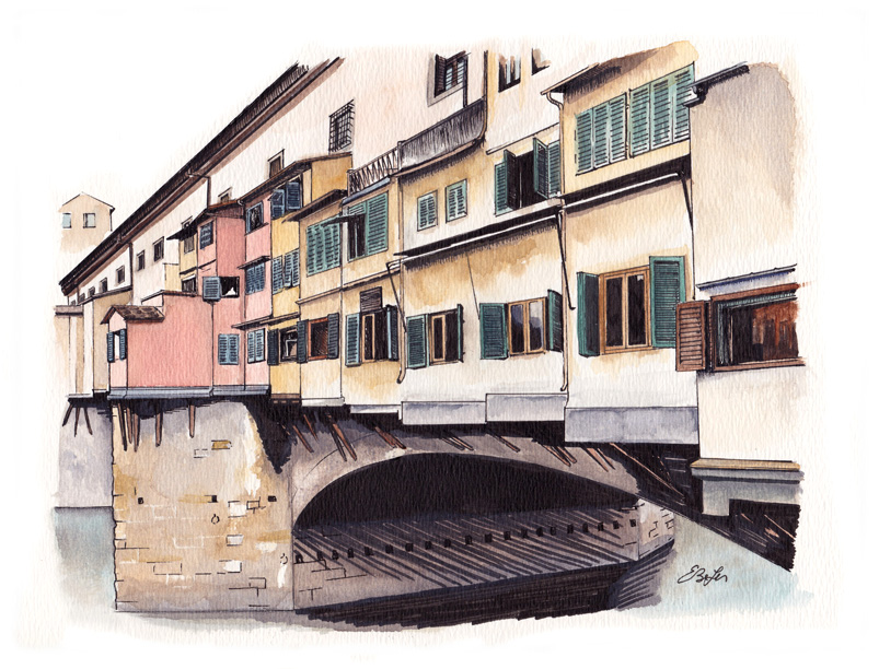 Watercolor, pen and ink of Ponte Vecchio Bridge in Florence, Italy. Private commission by artist Esther BeLer Wodrich.