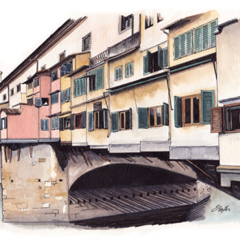 Watercolor, pen and ink architecture painting of Ponte Vecchio Bridge in Florence, Italy. Private commission by artist Esther BeLer Wodrich.