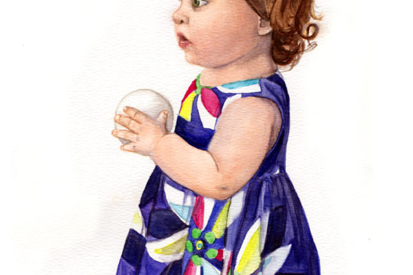 "Commissioned watercolor painting of ""Katie"" in a bright dress holding a ball"
