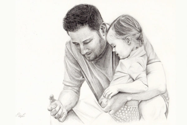 Private commission graphite drawing of a father and daughter talking together
