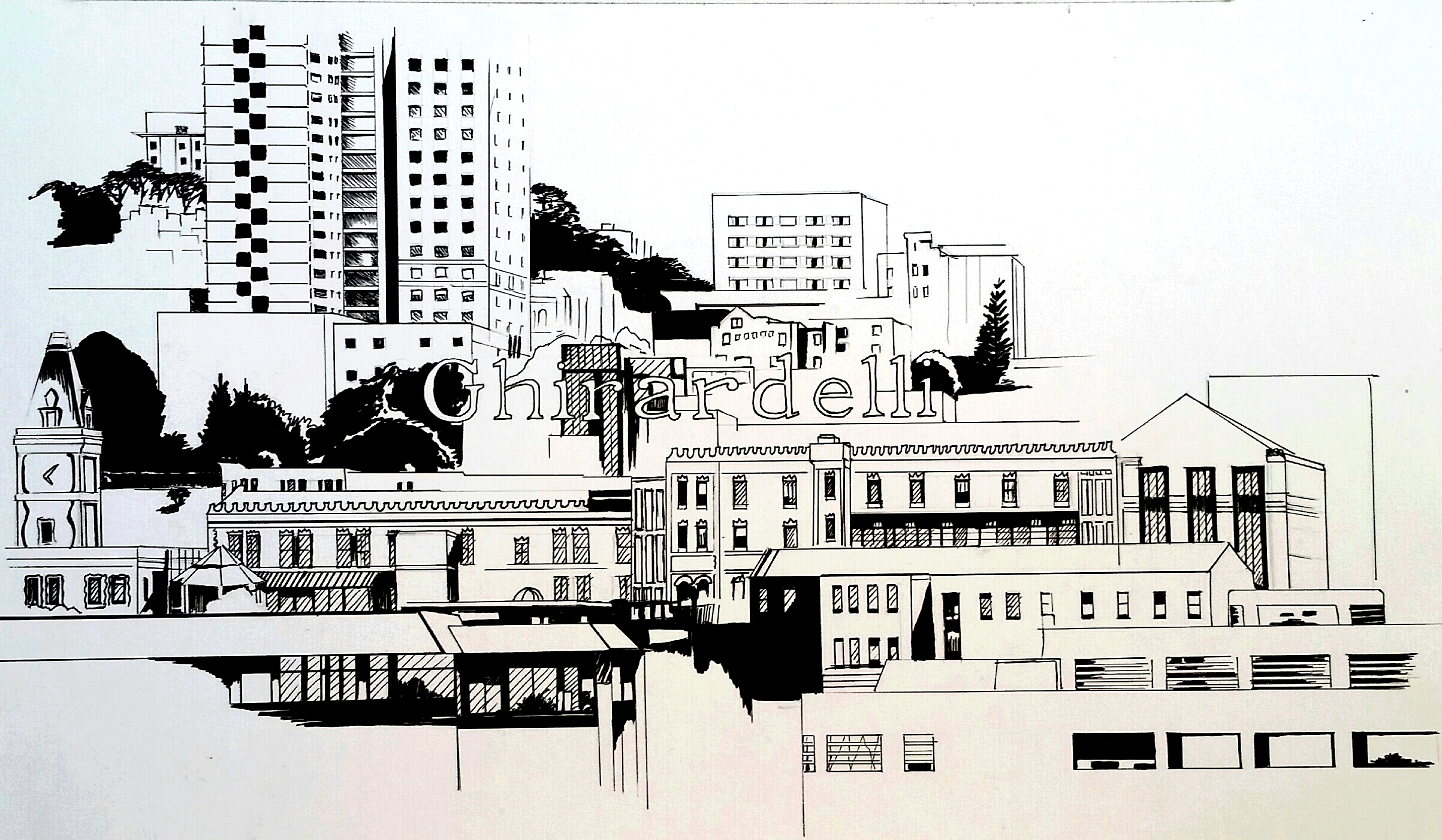 Pen and ink of part of the San Francisco skyline that includes the Ghirardelli sign. By Esther BeLer Wodrich