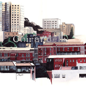 Ghirardelli is a watercolor, pen and ink of part of San Francisco skyline with Ghirardelli sign as focal point by artist Esther BeLer Wodrich