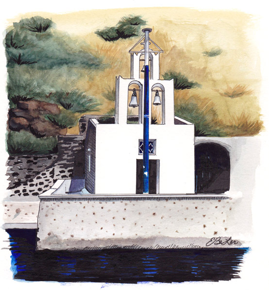 Santorini Harbor Church is a watercolor, pen and ink architecture painting of a small church on the harbor in Santorini, Greece by artist Esther BeLer Wodrich