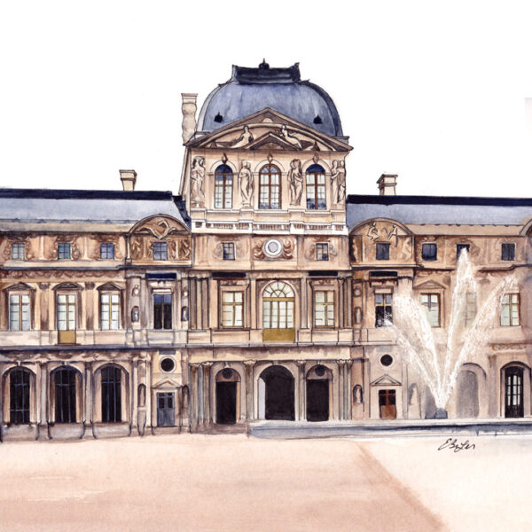 Le Louvre is a watercolor, pen and ink architecture painting of the Louvre art museum in Paris, France by artist Esther BeLer Wodrich