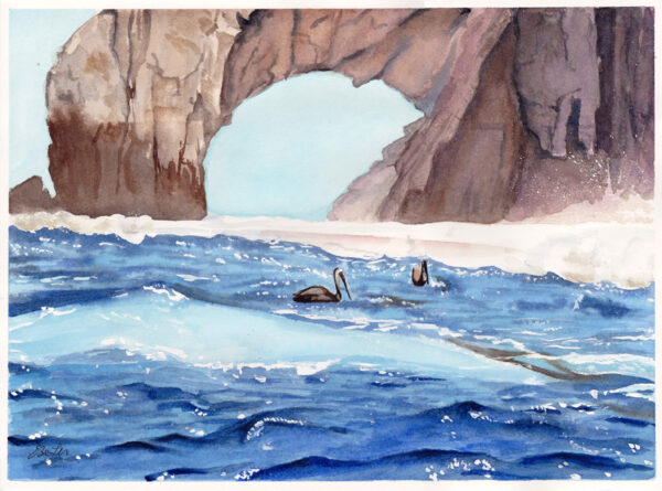 Pelicans at Cabo San Lucas is a watercolor painting of the ocean and the famous arch at Cabo San Lucas with pelicans by artist Esther BeLer Wodrich