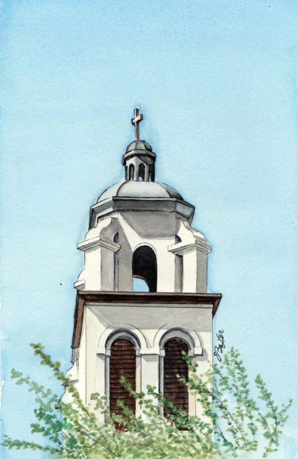 St Mary's Tower is a watercolor, pen and ink architecture painting of St Mary's Basilica's tower in Phoenix Arizona by artist Esther BeLer Wodrich