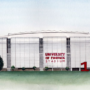 Cardinal's Stadium Front is a watercolor, pen and ink architecture painting of the Arizona Cardinal's, University of Phoenix Stadium in Glendale, Arizona by artist Esther BeLer Wodrich