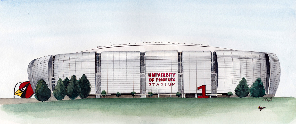 Watercolor, pen and ink of the Arizona Cardinal's, University of Phoenix Stadium in Glendale, Arizona by artist Esther BeLer Wodrich