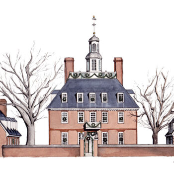 Williamsburg Christmas is a watercolor, pen and ink painting of Williamsburg, Virginia's Governor's Palace at Christmas by artist Esther BeLer Wodrich