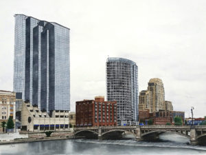 Large scale watercolor, pen and ink of the Grand Rapids, Michigan skyline by Esther BeLer Wodrich