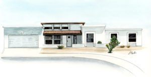 Watercolor, pen and ink of white stucco home in North Phoenix by artist Esther BeLer Wodrich