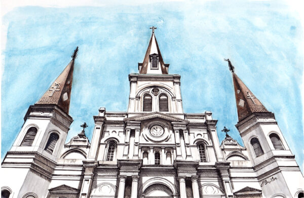 St. Louis Cathedral is a watercolor, pen and ink architecture painting of St. Louis Cathedral in worm's eye view at Jackson Square in New Orleans by Artist Esther BeLer Wodrich