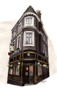 """Courage"" is a watercolor, pen and ink architecture painitng of The Cockpit pub in London, England by artist Esther BeLer Wodrich"
