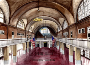 Watercolor, pen and ink of Ellis Island Museum in New York City by artist Esther BeLer Wodrich