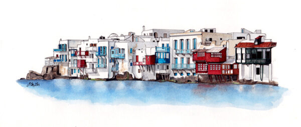 Little Venice is a watercolor, pen and ink architecture painting of Little Venice in Mykonos, Greece by artist Esther BeLer Wodrich