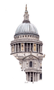 Watercolor, pen and ink of St Paul's Cathedral in London by artist Esther BeLer Wodrich