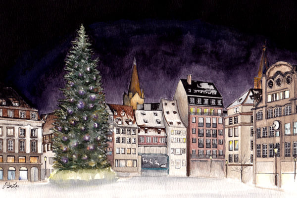 Strasbourg Christmas is a watercolor, pen and ink architecture painting of Strasbourg's Place Kleber by artist Esther BeLer Wodrich