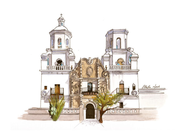Watercolor, pen and ink architecture artwork of San Xavier Mission in Tucson, Arizona by artist Esther BeLer Wodrich