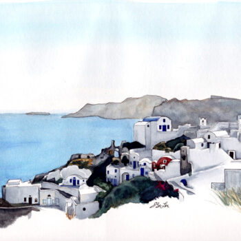 Oia is a watercolor, pen and ink architecture painting of the village of Oia in Santorini, Greece by artist Esther BeLer Wodrich
