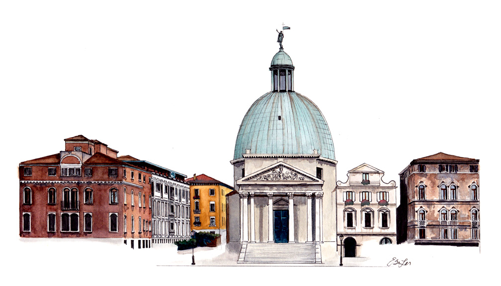 Santa Croce is watercolor, pen and ink architecture painting of San Simeone Piccolo and part of Santa Croce in Venice, Italy by artist Esther BeLer Wodrich