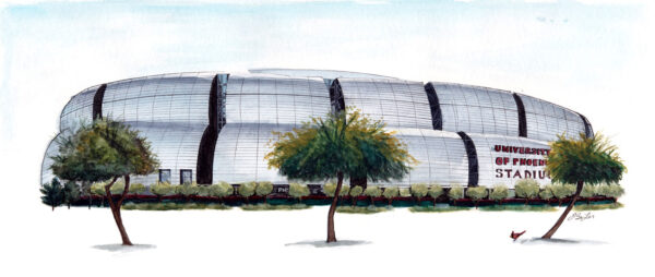 Architecture artwork of University of Phoenix, Arizona Cardinals Stadium in watercolor, pen and ink by artist Esther BeLer Wodrich