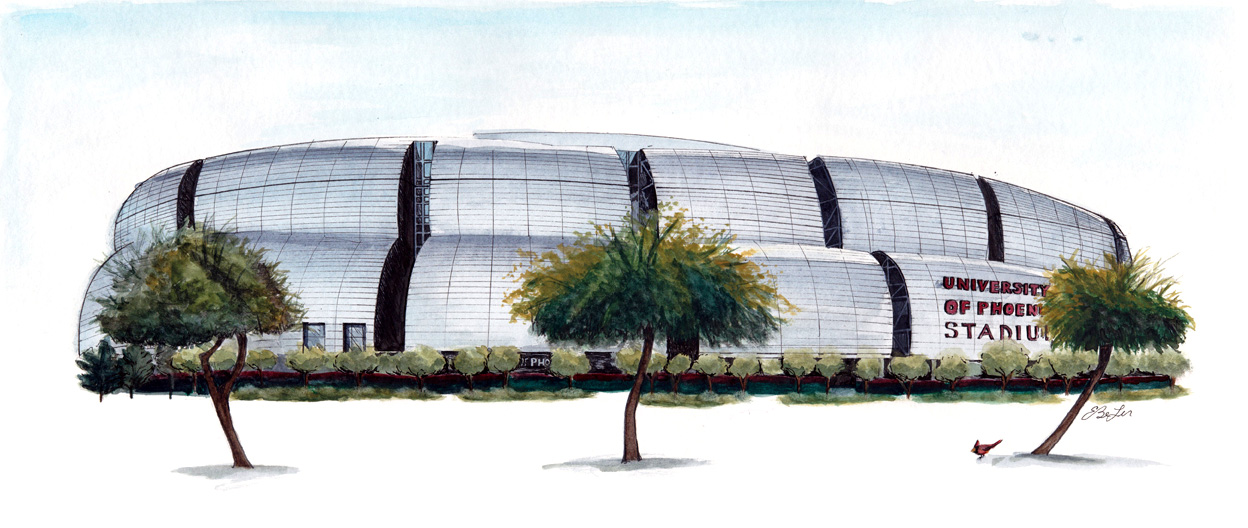 University of Phoenix, Arizona Cardinals Stadium in watercolor, pen and ink by artist Esther BeLer Wodrich