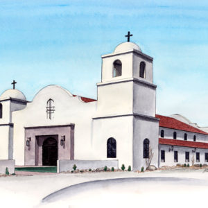 Watercolor, pen and ink architecture drawing of King of Kings Church in Goodyear Arizona by artist Esther BeLer Wodrich