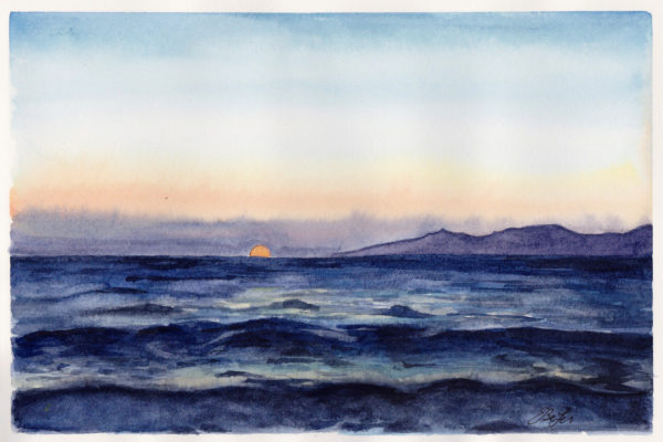 Sunset over Santorini is a watercolor painting by artist Esther BeLer Wodrich