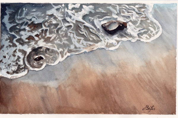The Tide is a watercolor painting that is close up of the tide and ocean by artist Esther BeLer Wodrich