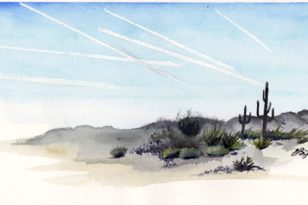 Contrails is a watercolor painting of a desert landscape with condensation trails in the sky by artist Esther BeLer Wodrich