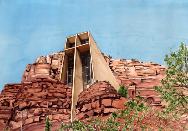 Watercolor, pen and ink architecture painting of the Chapel of the Holy Cross in Sedona, Arizona by artist Esther BeLer Wodrich