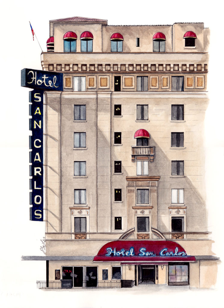 Watercolor, pen and ink of the Hotel San Carlos in Phoenix, AZ by artist Esther BeLer Wodrich