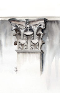 Architecture watercolor, pen and ink painting of a capital from a column outside of a subway stations in NYC. Art by artist Esther BeLer Wodrich.