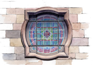 Architecture watercolor, pen and ink of a window at the Historic First Presbyterian Church in Phoenix, Arizona. Art by artist Esther BeLer Wodrich.