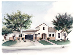 Custom home portrait in watercolor, pen and ink of a home in Goodyear, Arizona by artist Esther BeLer Wodrich