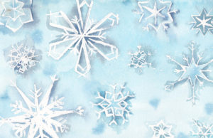 11 Falling Snowflakes - the Eleventh Day of Christmas watercolor by artist Esther BeLer Wodrich
