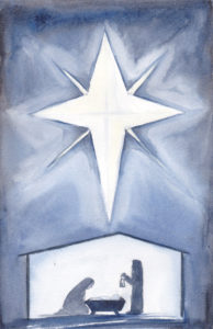 The First Day of Christmas watercolor of the silhouette of Jesus' birth by artist Esther BeLer Wodrich