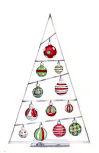 12 Shiny Ornaments - the Twelth Day of Christmas watercolor by artist Esther BeLer Wodrich