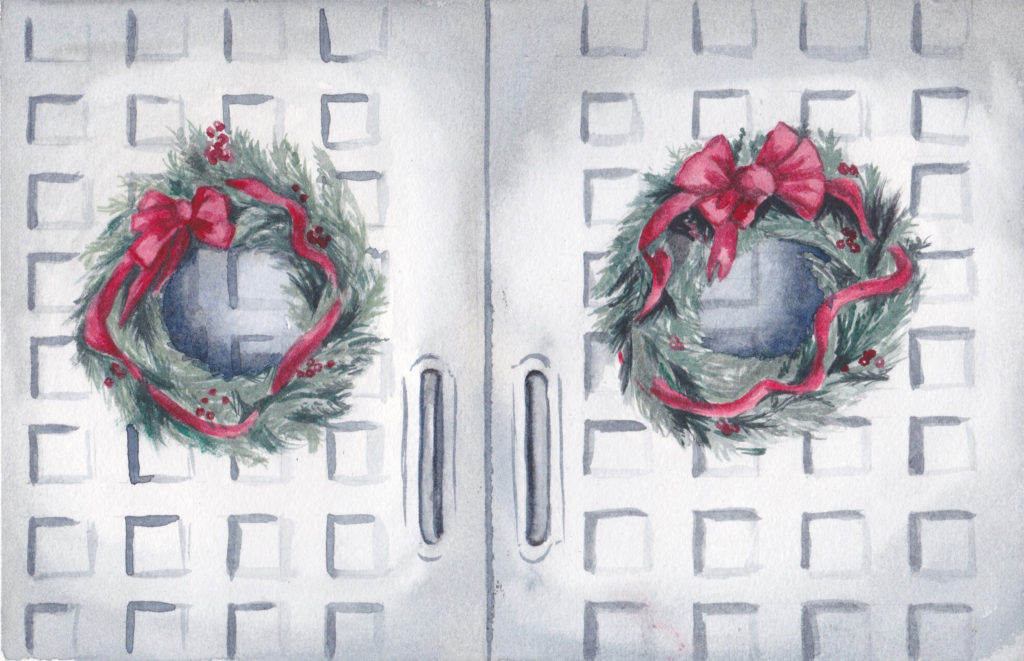 2 Christmas Wreaths - the Second Day of Christmas watercolor by artist Esther BeLer Wodrich